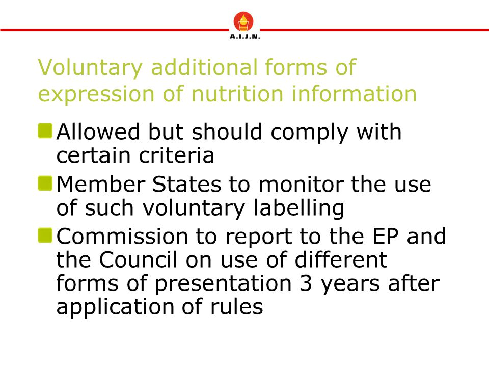 Voluntary additional forms of expression of nutrition information Allowed but should comply with certain criteria Member States to monitor the use of such voluntary labelling Commission to report to the EP and the Council on use of different forms of presentation 3 years after application of rules