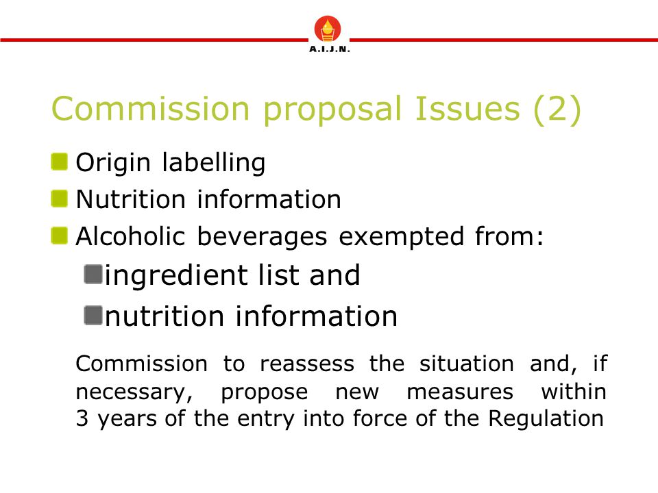 Commission proposal Issues (2) Origin labelling Nutrition information Alcoholic beverages exempted from: ingredient list and nutrition information Commission to reassess the situation and, if necessary, propose new measures within 3 years of the entry into force of the Regulation