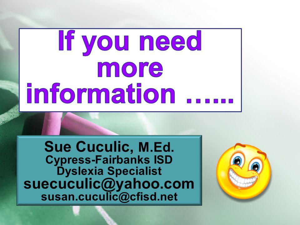 Sue Cuculic, M.Ed.