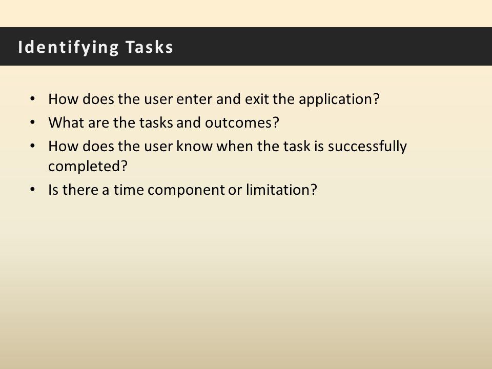 Identifying Tasks How does the user enter and exit the application.