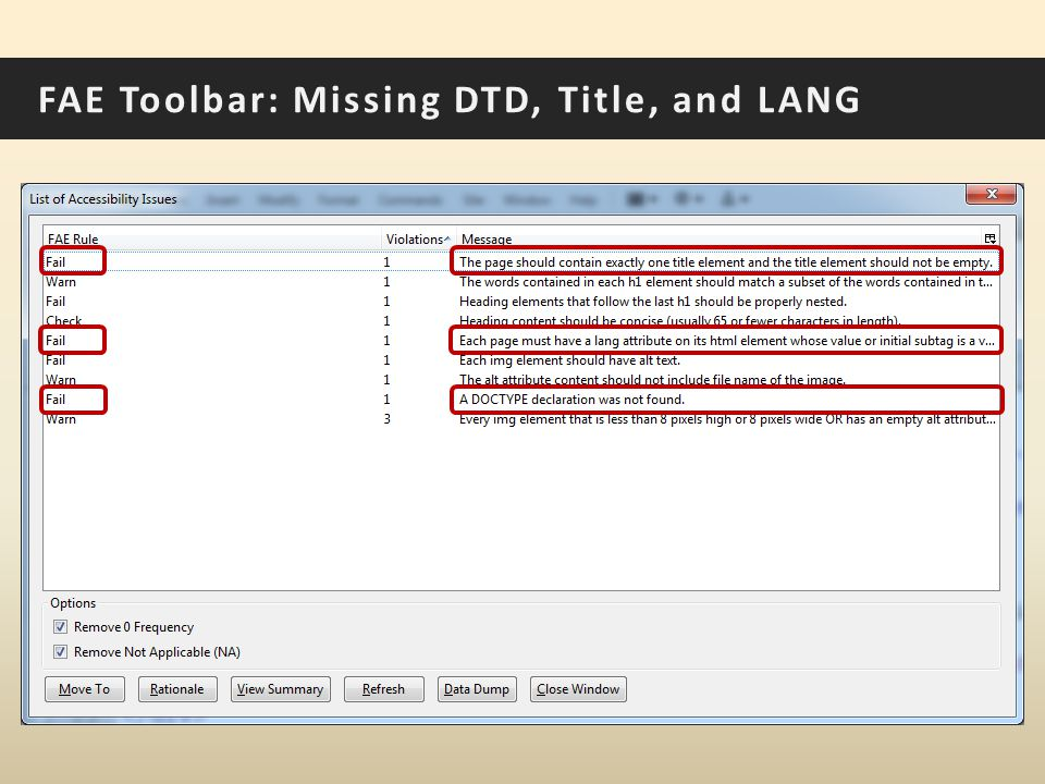 FAE Toolbar: Missing DTD, Title, and LANG