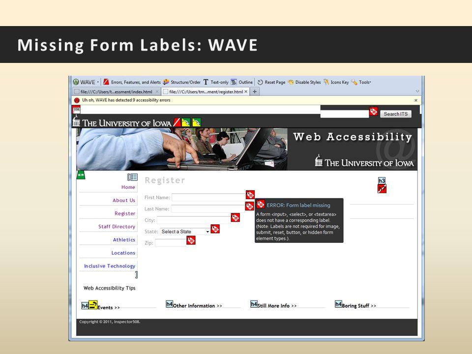 Missing Form Labels: WAVE