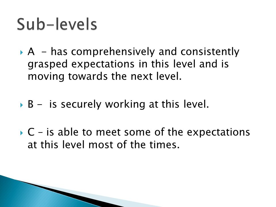  A - has comprehensively and consistently grasped expectations in this level and is moving towards the next level.