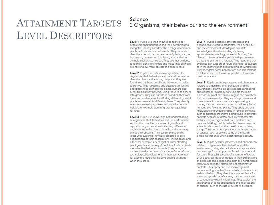 A TTAINMENT T ARGETS : L EVEL D ESCRIPTORS