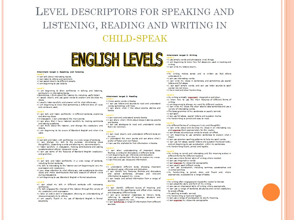 L EVEL DESCRIPTORS FOR SPEAKING AND LISTENING, READING AND WRITING IN CHILD - SPEAK