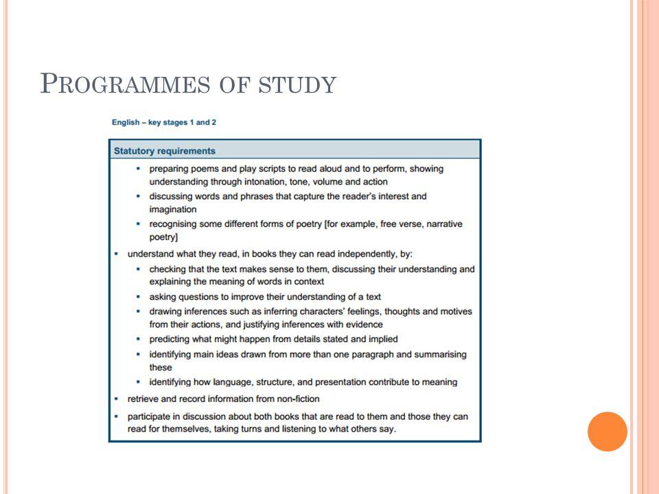 P ROGRAMMES OF STUDY