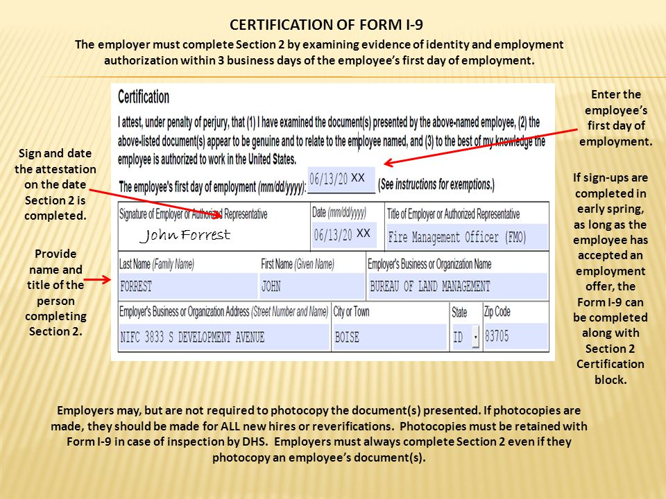 CERTIFICATION OF FORM I-9 Enter the employee's first day of employment.