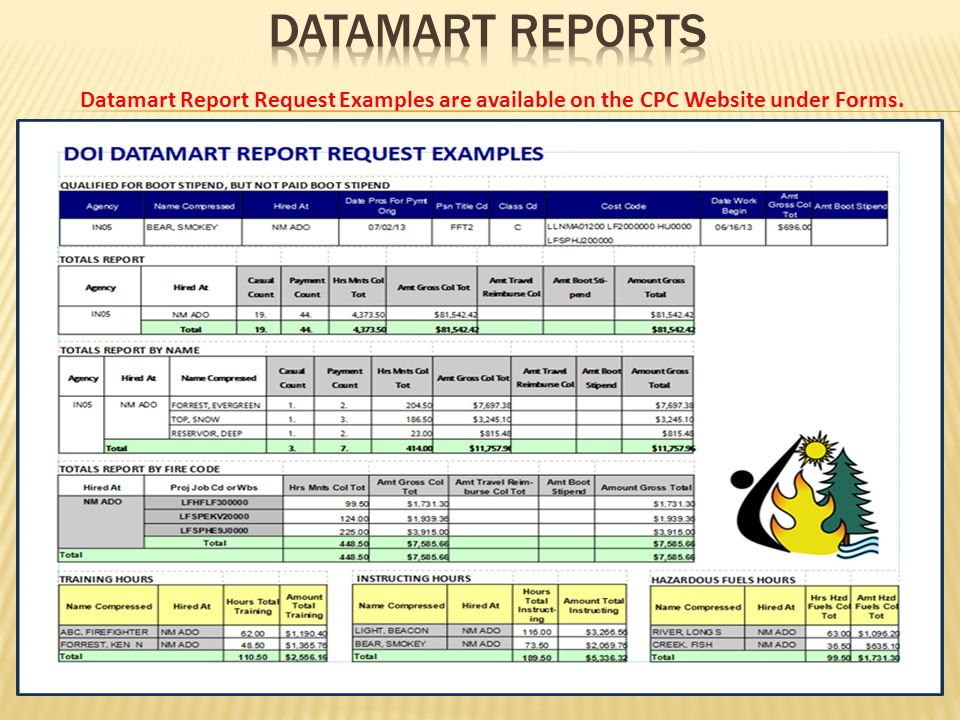 Datamart Report Request Examples are available on the CPC Website under Forms.