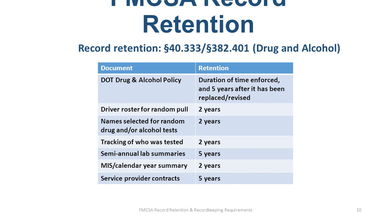 FMCSA Record Retention Record retention: §382.401 (Drug and Alcohol Training) Following records of training are kept for duration of employment, plus 2 years:  Supervisor reasonable suspicion training  Urine specimen collector, Breath Alcohol Technician (BAT), and Aspartate Aminotransferase (AST) training (if in-house) FMCSA Record Retention & Recordkeeping Requirements11