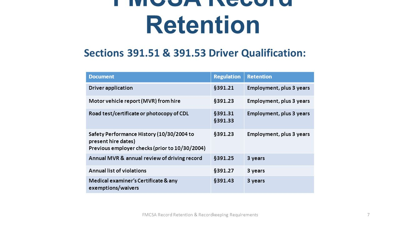 FMCSA Record Retention Medical Examination Report Form (Long form):  Not a required element in the DQ file  Original is kept at examiner's office  Motor carriers may request a copy providing it done within confines of HIPAA  Form cannot be stored in DQ file or personnel file FMCSA Record Retention & Recordkeeping Requirements8