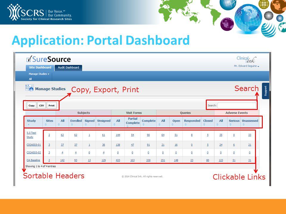 Application: Portal Dashboard Clickable Links Search Sortable Headers Copy, Export, Print