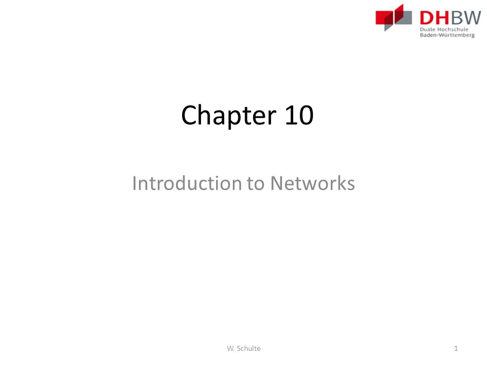 Chapter 10 Introduction to Networks W. Schulte1