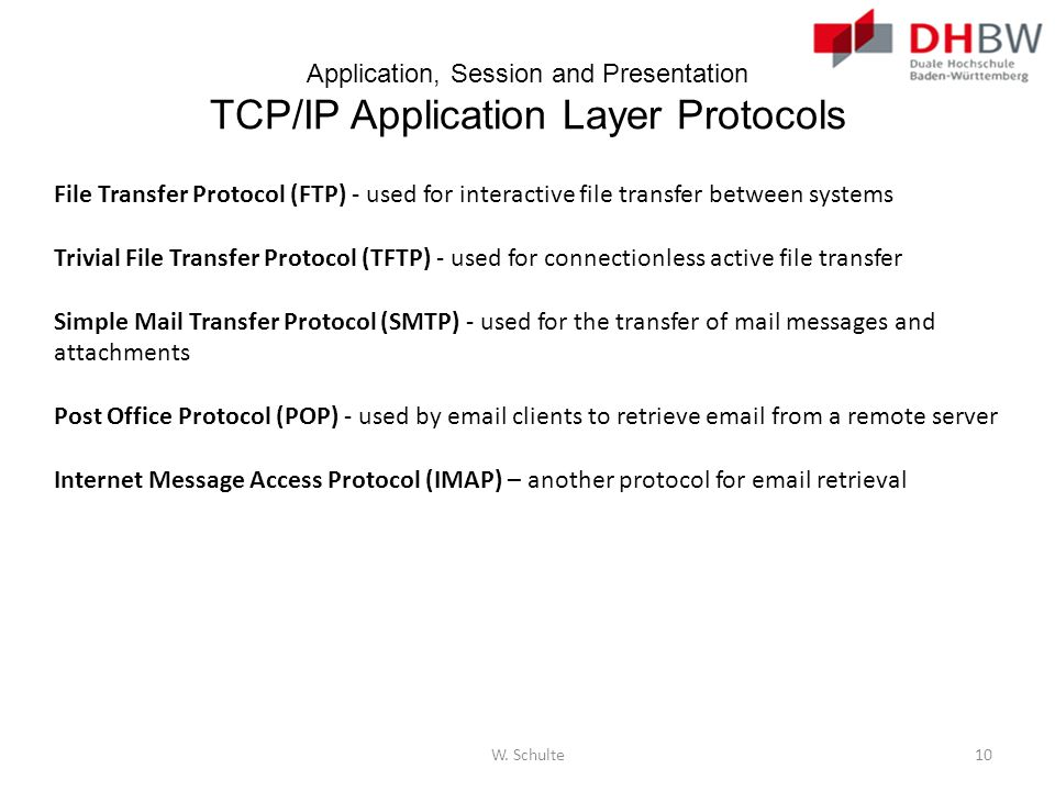 Application, Session and Presentation TCP/IP Application Layer Protocols File Transfer Protocol (FTP) - used for interactive file transfer between sys