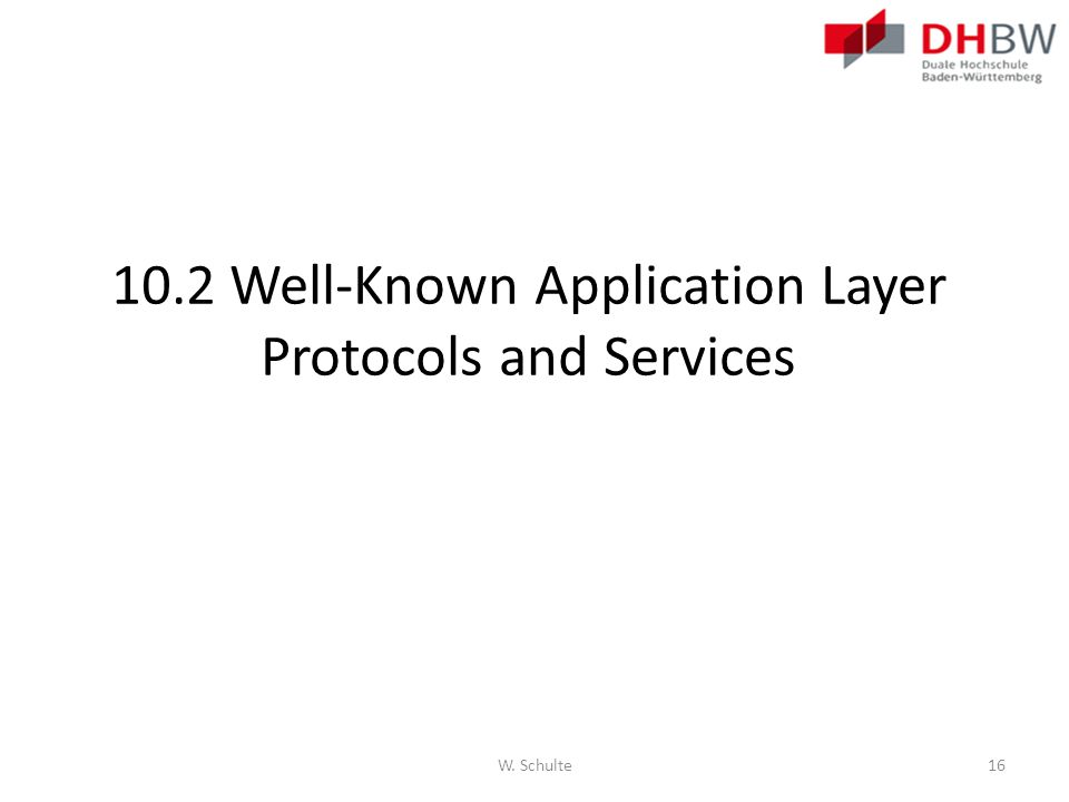 10.2 Well-Known Application Layer Protocols and Services W. Schulte16
