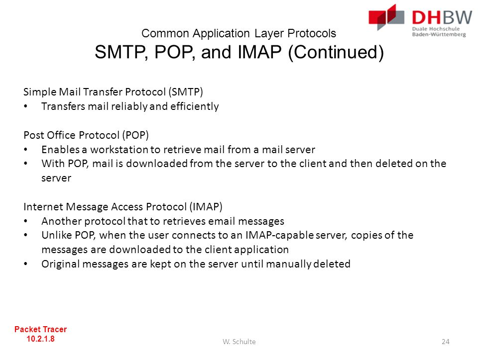 Common Application Layer Protocols SMTP, POP, and IMAP (Continued) Simple Mail Transfer Protocol (SMTP) Transfers mail reliably and efficiently Post O