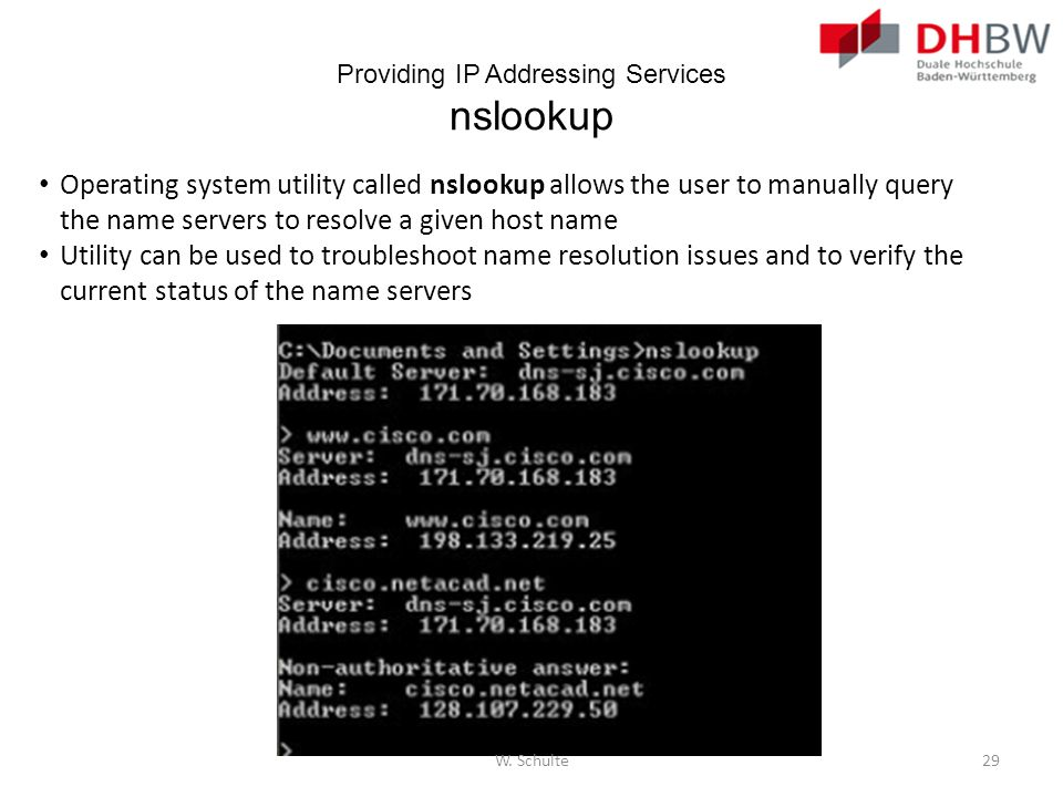 Providing IP Addressing Services nslookup Operating system utility called nslookup allows the user to manually query the name servers to resolve a giv