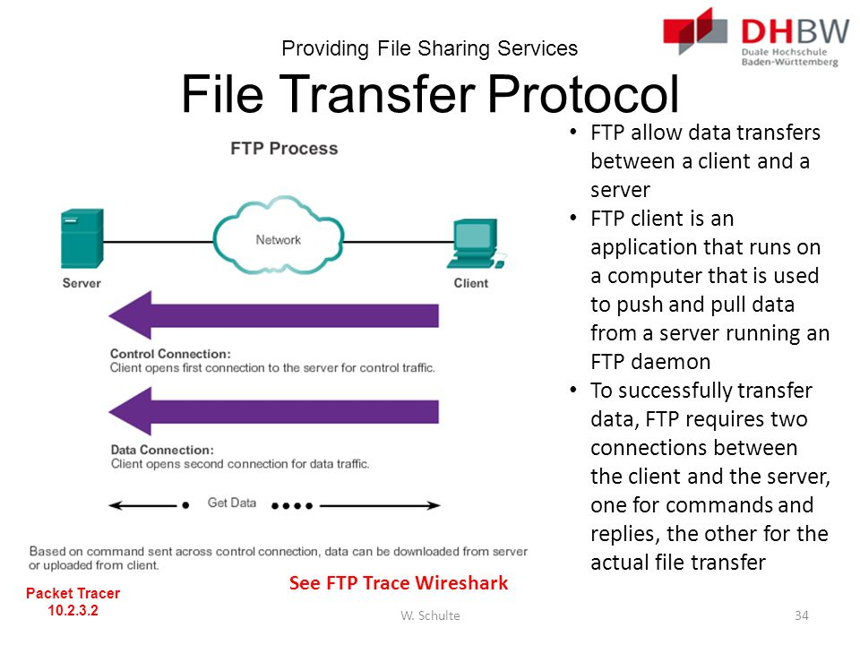 Providing File Sharing Services File Transfer Protocol FTP allow data transfers between a client and a server FTP client is an application that runs o