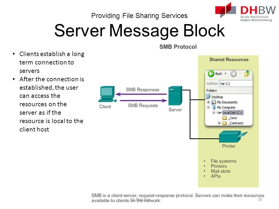 Providing File Sharing Services Server Message Block Clients establish a long term connection to servers After the connection is established, the user