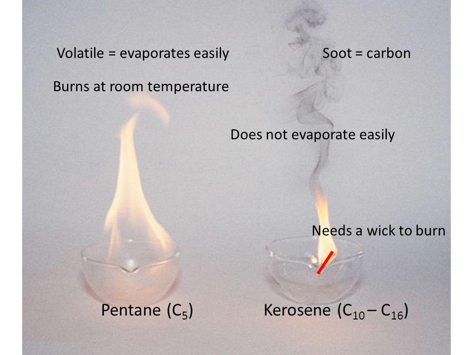 Pentane (C 5 )Kerosene (C 10 – C 16 ) Volatile = evaporates easily Burns at room temperature Does not evaporate easily Needs a wick to burn Soot = carbon
