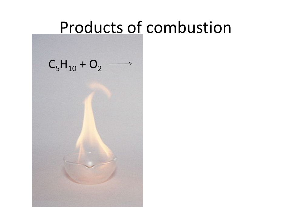 Products of combustion C 5 H 10 + O 2