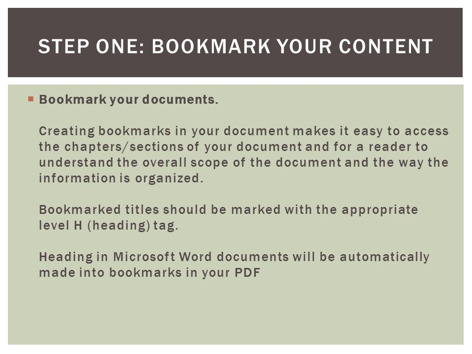  Bookmark your documents.