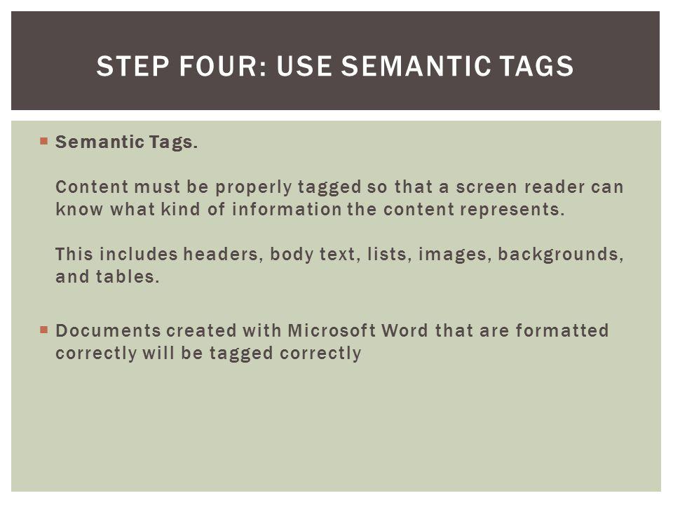  Semantic Tags.