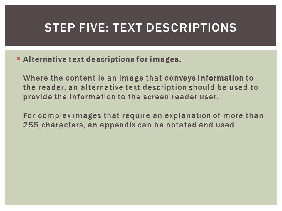  Alternative text descriptions for images.
