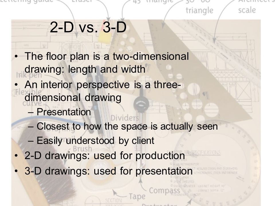 2-D vs. 3-D The floor plan is a two-dimensional drawing: length and width An interior perspective is a three- dimensional drawing –Presentation –Close