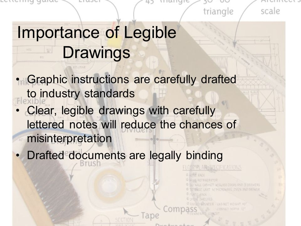 Importance of Legible Drawings Graphic instructions are carefully drafted to industry standards Clear, legible drawings with carefully lettered notes will reduce the chances of misinterpretation Drafted documents are legally binding
