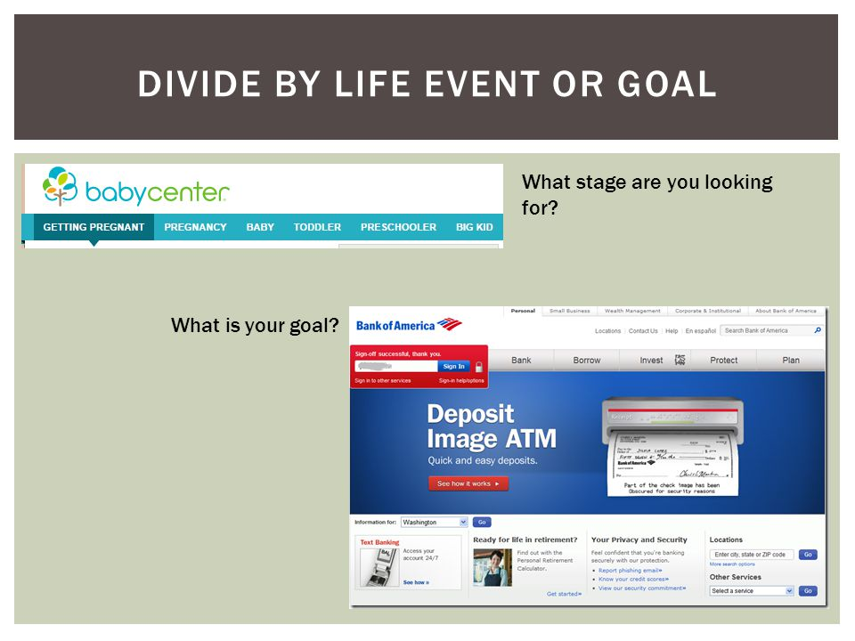 DIVIDE BY LIFE EVENT OR GOAL What stage are you looking for? What is your goal?