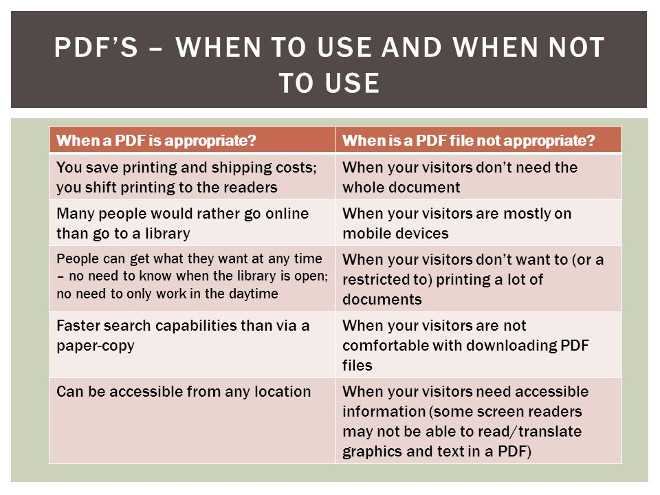 PDF'S – WHEN TO USE AND WHEN NOT TO USE When a PDF is appropriate When is a PDF file not appropriate.