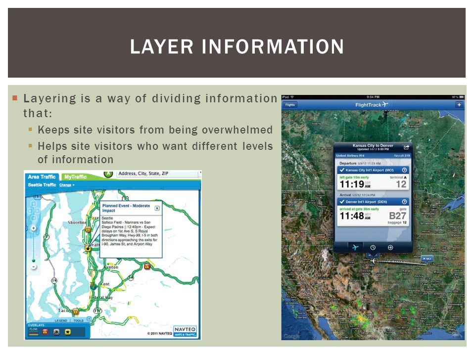  Layering is a way of dividing information that:  Keeps site visitors from being overwhelmed  Helps site visitors who want different levels of information LAYER INFORMATION