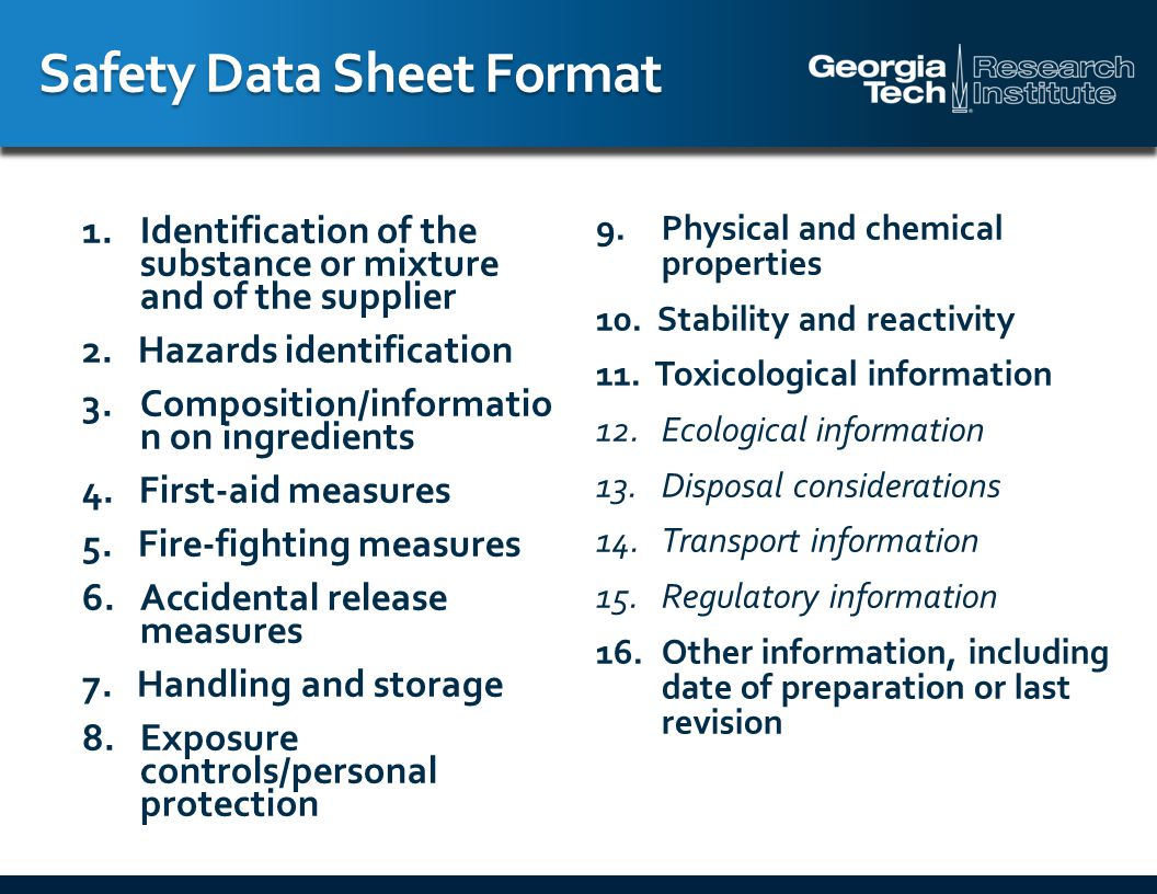 Safety Data Sheet Format 1.Identification of the substance or mixture and of the supplier 2.