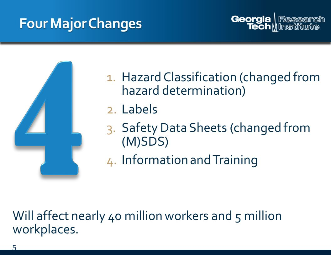 Employers must provide employees information and training on hazardous chemicals in their work area: At the time of their initial assignment Whenever a new physical or health hazard the employees have not previously been trained about is introduced into their work area Training may cover categories of hazards Employee Information and Training