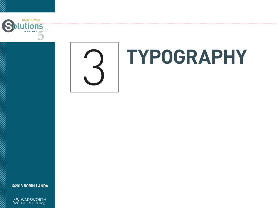Objectives Gain knowledge of anatomy and nomenclature Learn type classifications Pick up the basic principles of designing with type Learn about typeface pairings Consider spacing Become familiar with Web type basics Learn about expressive typography