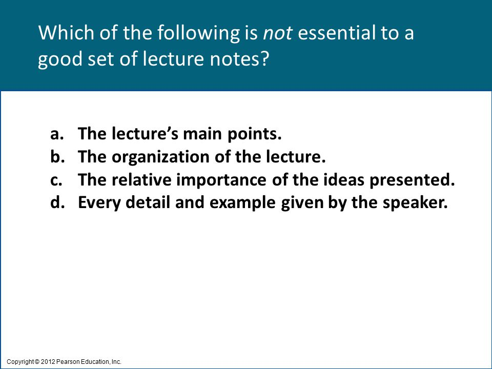 Which of the following is not essential to a good set of lecture notes.