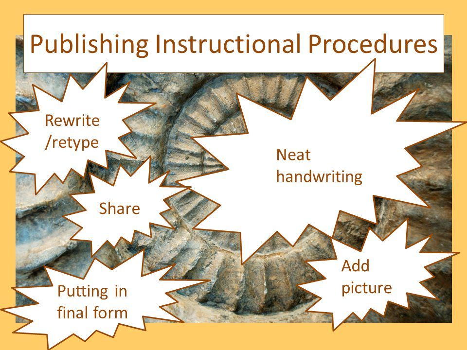 Publishing Instructional Procedures Neat handwriting Putting in final form Rewrite /retype Share Add picture
