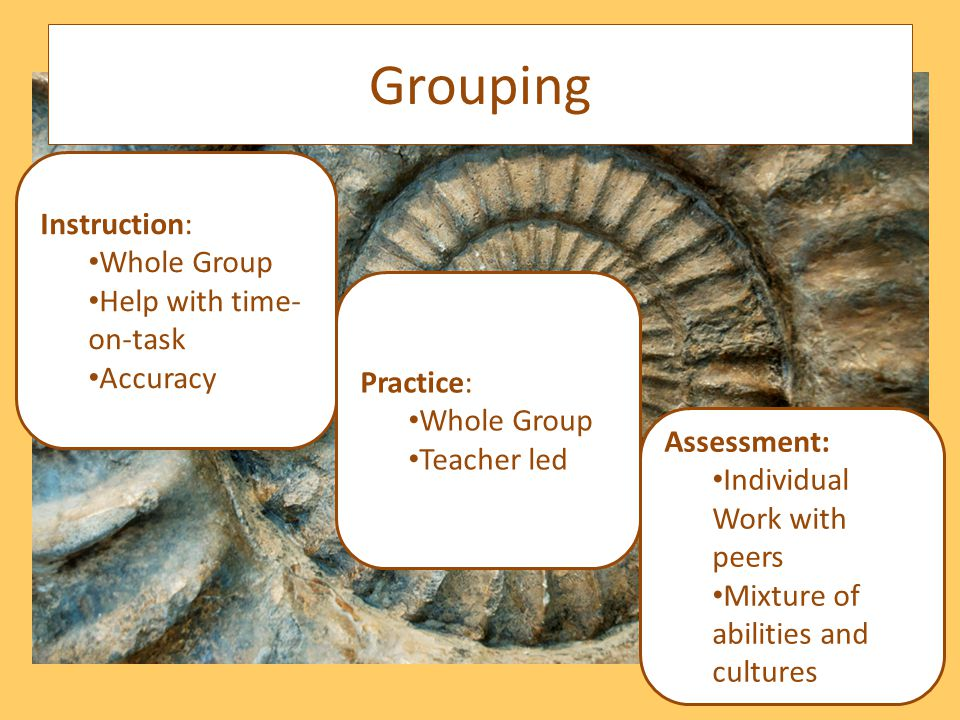Assessment: Individual Work with peers Mixture of abilities and cultures Instruction: Whole Group Help with time- on-task Accuracy Practice: Whole Group Teacher led Grouping