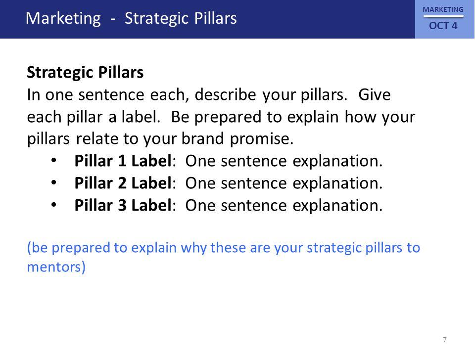 MARKETING OCT 4 Marketing - Strategic Pillars Strategic Pillars In one sentence each, describe your pillars.