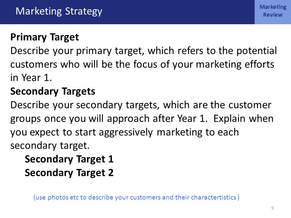 MARKETING OCT 4 Marketing Strategy Primary Target Describe your primary target, which refers to the potential customers who will be the focus of your marketing efforts in Year 1.