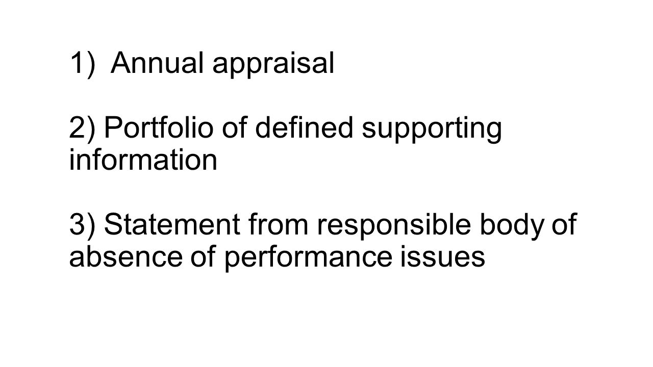 1) Annual appraisal 2) Portfolio of defined supporting information 3) Statement from responsible body of absence of performance issues