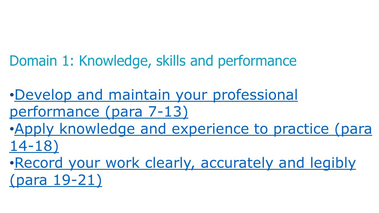 Domain 1: Knowledge, skills and performance Develop and maintain your professional performance (para 7-13) Develop and maintain your professional perf