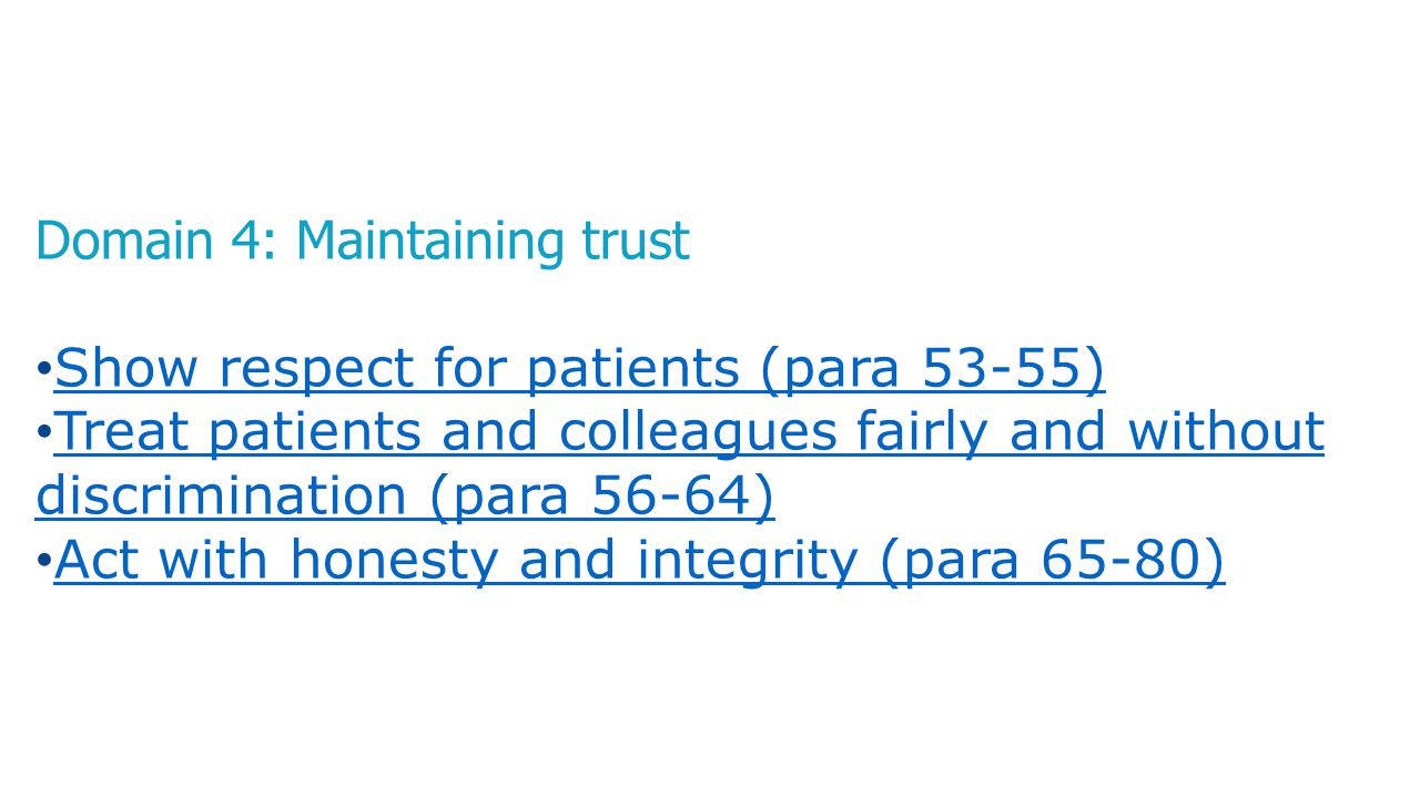 Domain 4: Maintaining trust Show respect for patients (para 53-55) Treat patients and colleagues fairly and without discrimination (para 56-64) Treat
