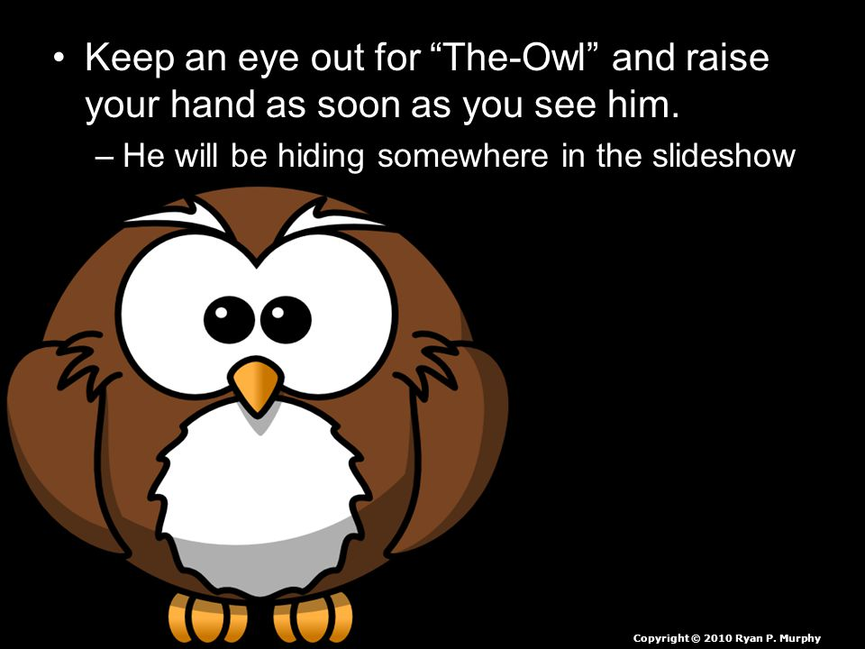 """Keep an eye out for """"The-Owl"""" and raise your hand as soon as you see him. –He will be hiding somewhere in the slideshow Copyright © 2010 Ryan P. Murph"""