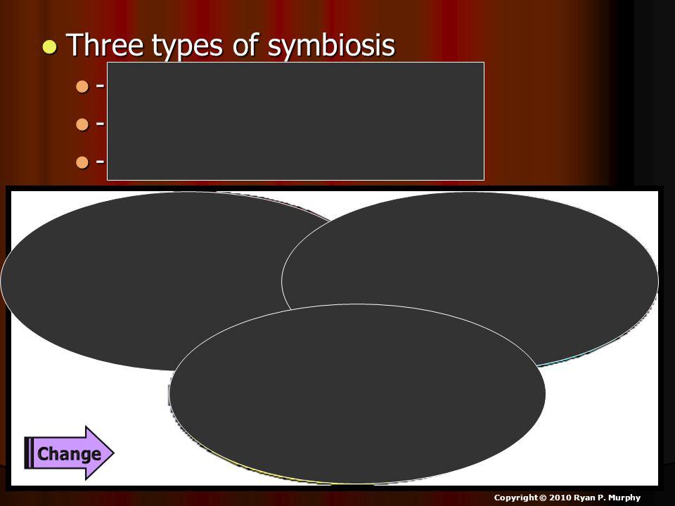 Three types of symbiosis Three types of symbiosis - Parasitism - Parasitism - Mutualism - Mutualism - Commensalism - Commensalism Copyright © 2010 Rya