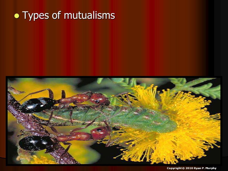 Types of mutualisms Types of mutualisms Copyright © 2010 Ryan P. Murphy