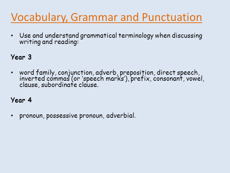 Vocabulary, Grammar and Punctuation Use and understand grammatical terminology when discussing writing and reading: Year 3 word family, conjunction, adverb, preposition, direct speech, inverted commas (or 'speech marks'), prefix, consonant, vowel, clause, subordinate clause.