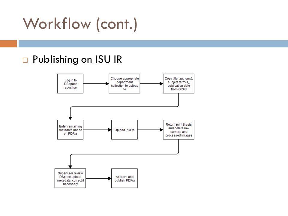 Workflow (cont.)  Publishing on ISU IR