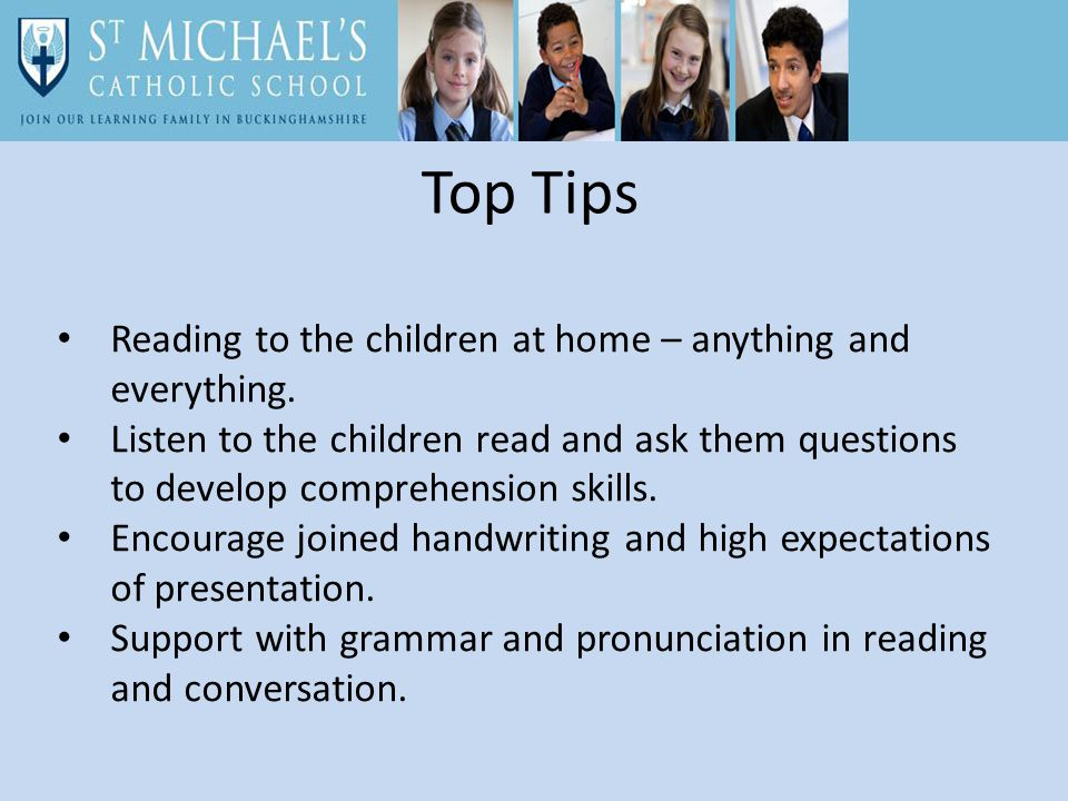 Top Tips Reading to the children at home – anything and everything.