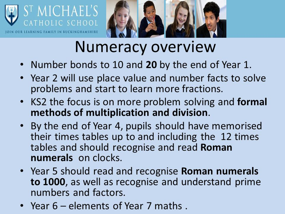 Numeracy overview Number bonds to 10 and 20 by the end of Year 1.